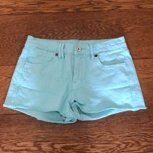 Madewell Robin's Egg Blue High Waisted Jean Shorts